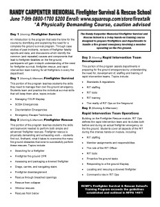 RCMF Firefighter Survival Class Layout Flyer